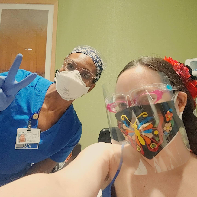 Rachael with a Nurse